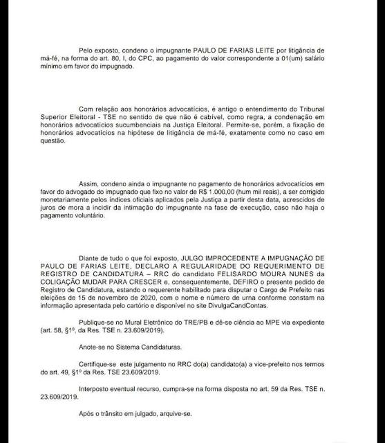 Candidato que pediu impugnação da candidatura de Felizardo recebe NÃO da justiça e ainda vai pagar multa de mil reais na Prata