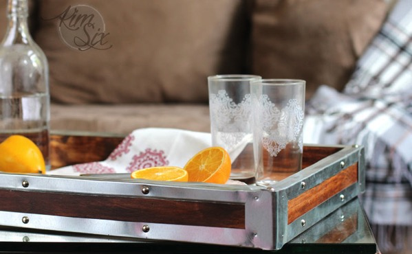 Vintage industrial serving tray
