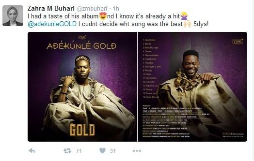 "Adekunle Gold's Album ""GOLD"" Is A Hit – Zahra Buhari"
