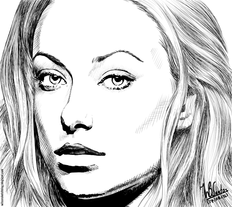 Ink drawing of Olivia Wilde, using Krita 2.4.