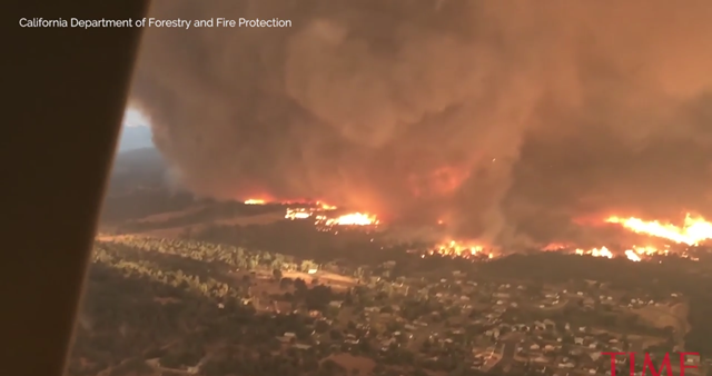 Aerial view of the fire tornado that destroyed Redding, California on 26 July 2018. Photo: California Department of Forestry and Fire Protection