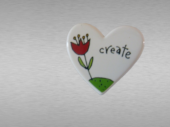 Heart-shaped 'create' fridge magnet