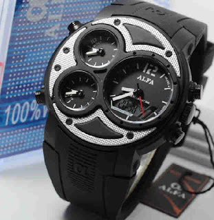 jam tangan Alfa original 047 black rubber white