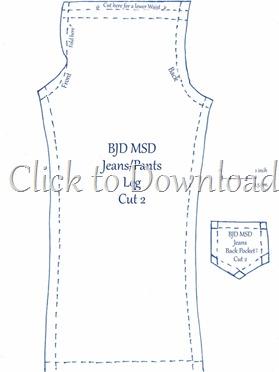 msd bjd jeans pattern
