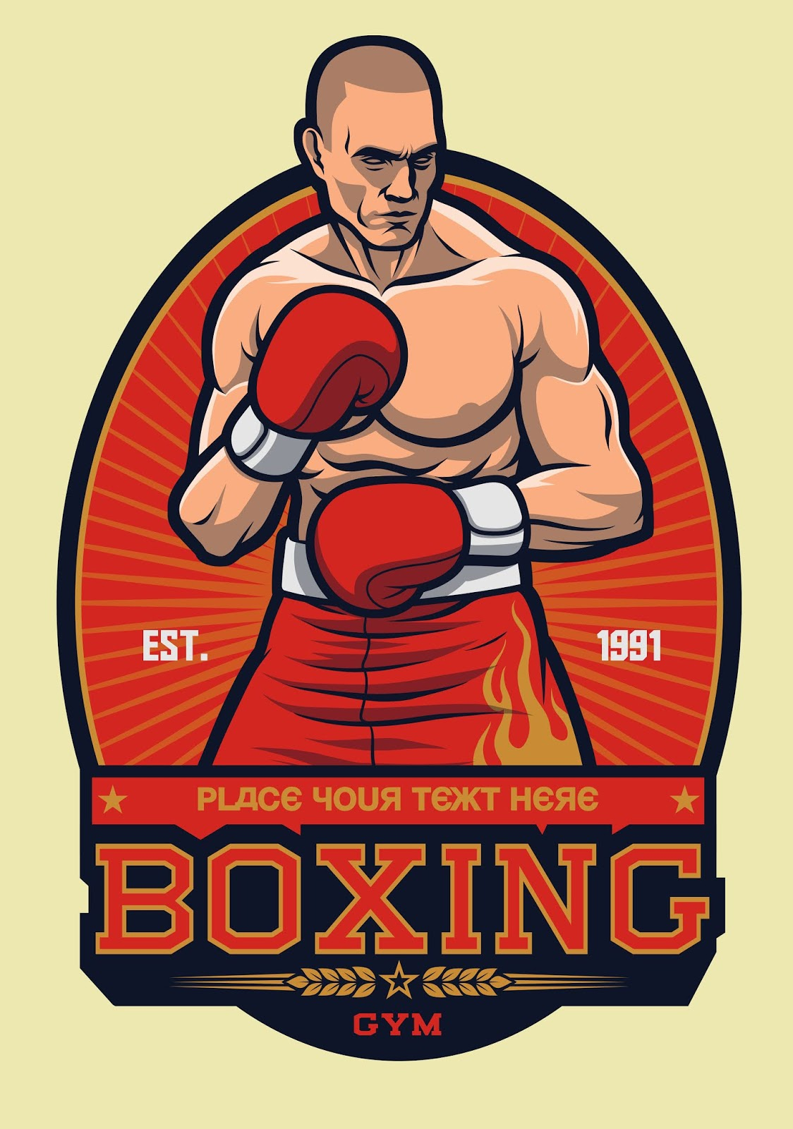 Boxing Fighter Stance With Sun Ray Free Download Vector CDR, AI, EPS and PNG Formats