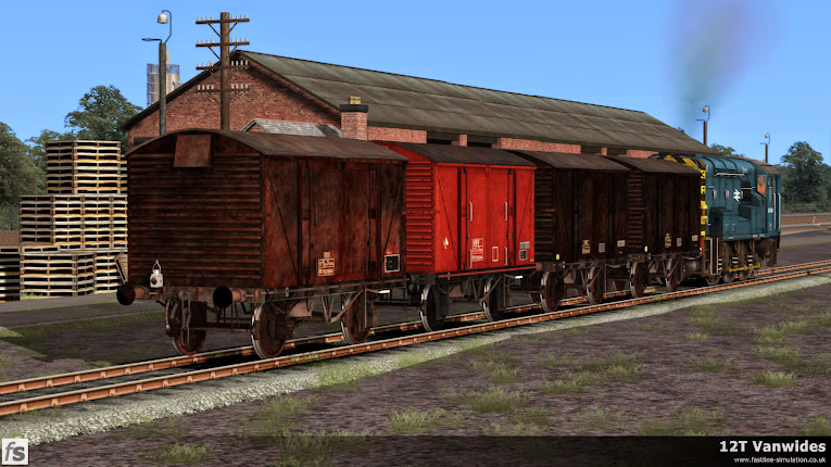 Fastline Simulation - 12T Vanwide: A Class 08 is seen removing 4 Vanwides from a local goods yard after unloading.