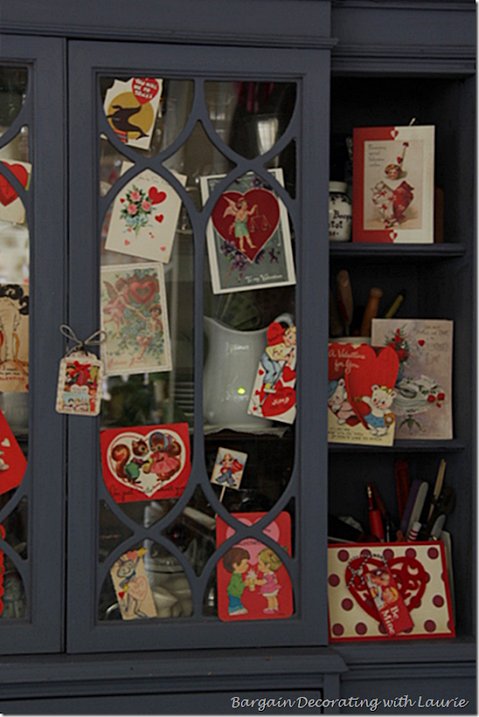 Hutch Decorated for Valentine's Day