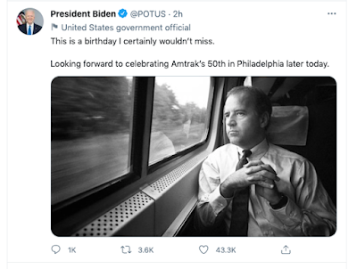 Twitter image of Joe Biden commuting by Joe McNally
