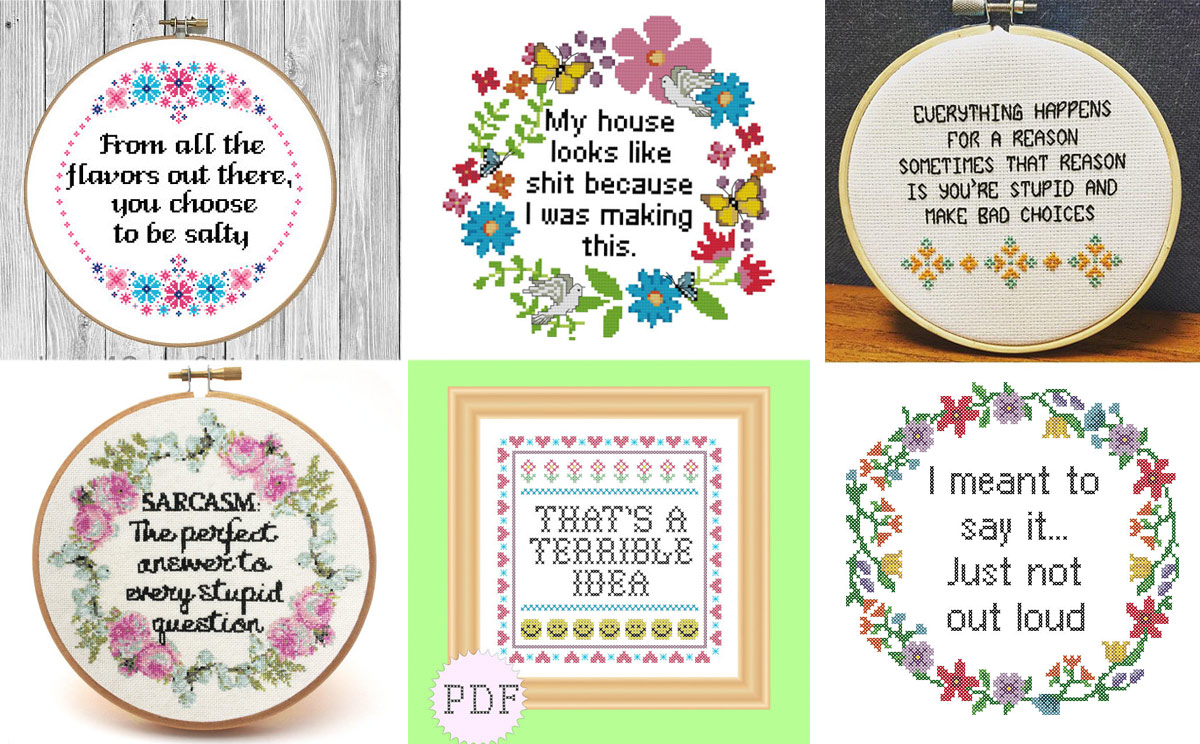 20 Sarcastic Cross Stitch Patterns (PG, PG-13 and R Rated