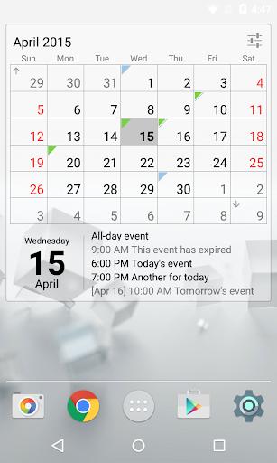 Calendar Widget Month + Agenda Screenshot