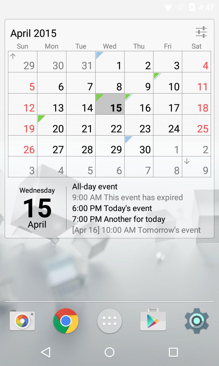 Calendar Widget Month + Agenda Screenshot 1
