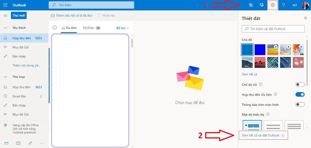 Truy cập trang Thiết đặt Outlook
