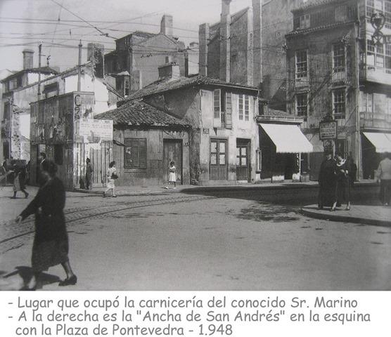 Ancha de Sª Andres con plz de Pontevedra 1948