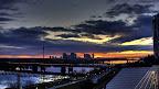 Wien: Handelskay, Milleniumturm, Donauturm, Vereinte Nationen, UNO | Sonnenaufgang