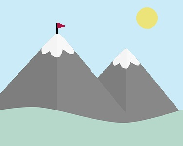 Two mountains, one with a flag on top.