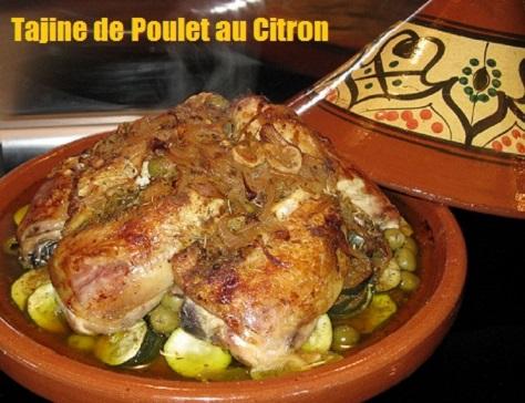 recette marocaine du tajine de poulet au citron, courgettes et olives