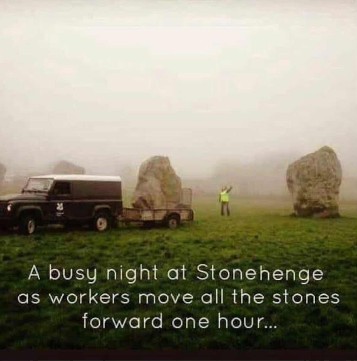 Adjusting stones at Stone Henge (Source: Unknown, post on Facebook)