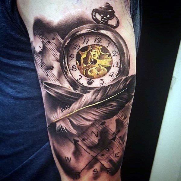 pena_relgio_de_bolso_braço_de_tatuagem