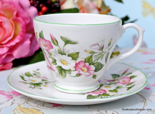 Royal Burlington Morning Glory Pattern Teacup and Saucer