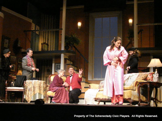 Patrcia Hoffman, Richard Michael Roe, Joanne Westervelt, Randy McConnach, Stephanie G. Insogna and Benita Zahn in THE ROYAL FAMILY (R) - December 2011.  Property of The Schenectady Civic Players Theater Archive.