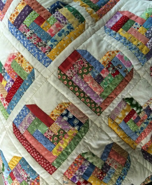 Quilt log cabin heart