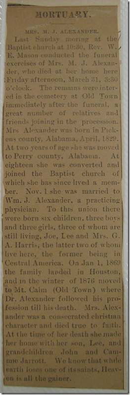 Obituary of Mrs. M. J. Alexander