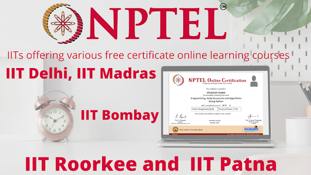 IIT Delhi, IIT Madras, IIT Bombay, IIT Roorkee and  IIT Patna are offering free online Courses on Data Science | Machine Learning | Artificial Intelligence | Cloud Computing through NPTEL  2021