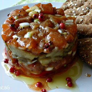 Salmon Tartar and Grilled Vegetable Timbales Recipe