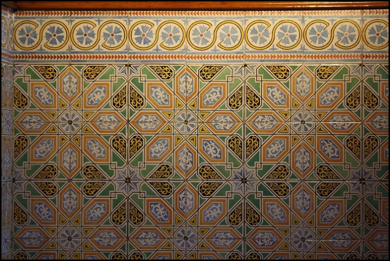 Geometric bathroom tiles  in Antonio Gaudi's Palau Guell