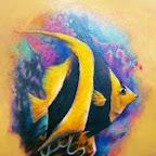 Fish striped black and yellow - Aquatic Animals Tattoo