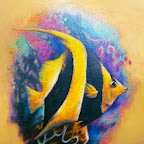 Fish striped black and yellow - Aquatic Animals Tattoo