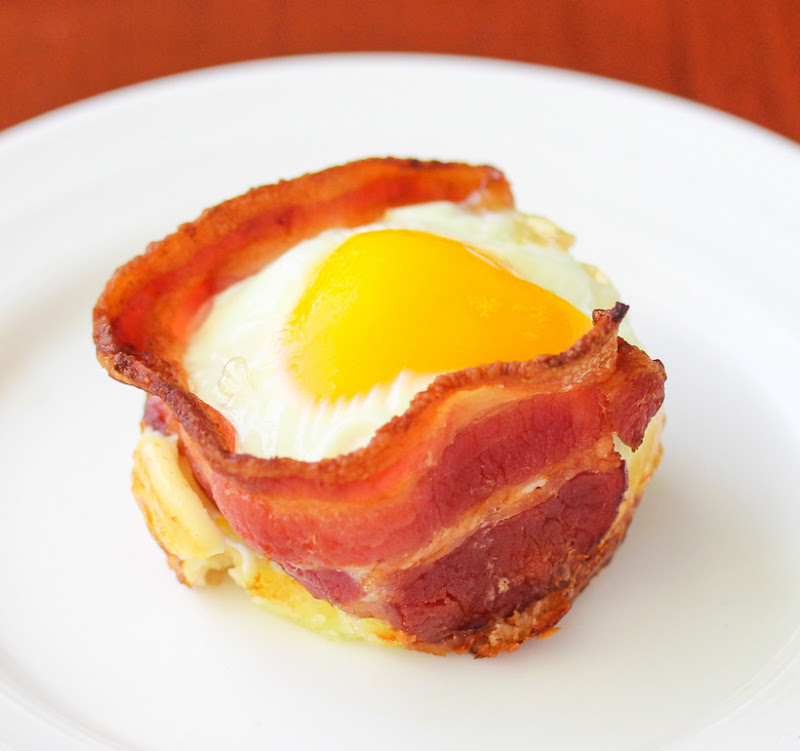 close-up photo of one Bacon Egg Pancake Cup