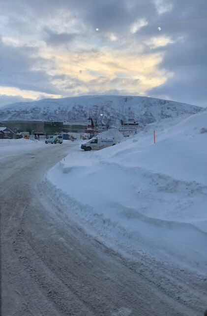 Driving on snow covered streets to the  Tromso Planetarium during our Viking Sky shore excursions (Source: Palmia Observatory)