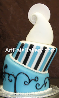 Two tier topsy turvy custom nightmare before christmas blue, black and white fondant wedding cake