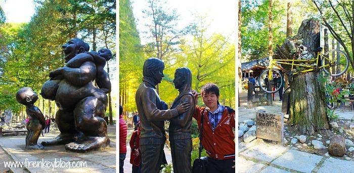 Patung Bae Yong-jun dan Choi Ji-woo