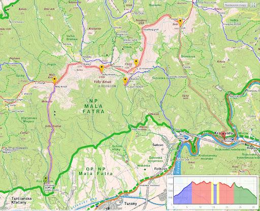 Mapa trasy, nástup - Sučany nevidno.