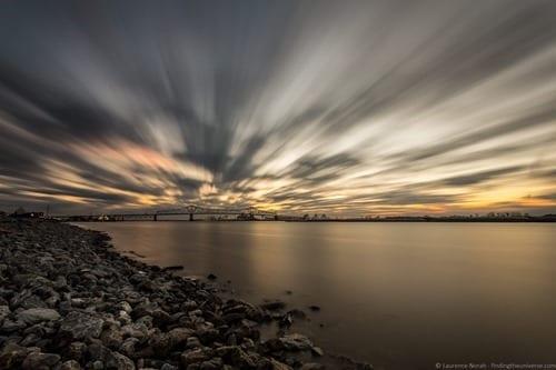 Baton rouge bridge sunset river