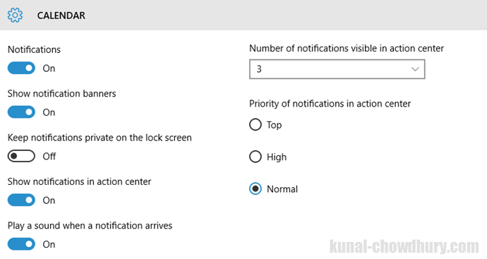 Windows 10 - Settings - Changes in Notifications & actions (www.kunal-chowdhury.com)