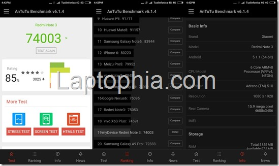 Benchmark Xiaomi Redmi Note 3 AnTuTu v6