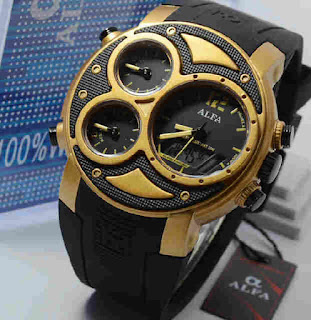 jam tangan Alfa original 047 black rubber ring Gold