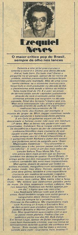 Ezequiel Neves, Resenha - Pop 1978-12