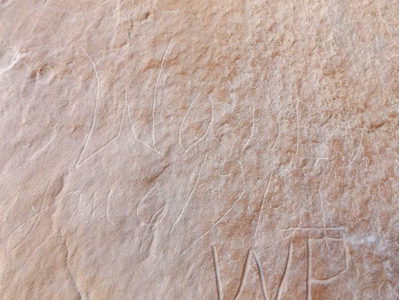 Inscription in North Temple Wash:  Warren Allred, Jan. 6, 1914
