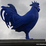 WWW.ENTSIMAGES.COM -      Katharina Fritsch's Hahn/Cock, the latest artwork  - Blue cock erected on fourth plinth in London's Trafalgar Square, July 2013                                                  Photo Mobis Photos/OIC 0203 174 1069
