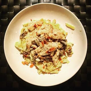 Dijon Chicken Tagliatelle with Mushrooms and Almonds