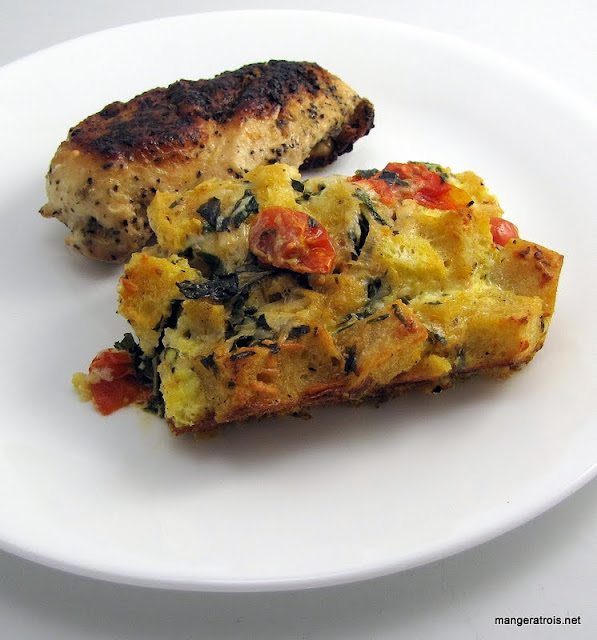 Tomato Basil Bread Pudding