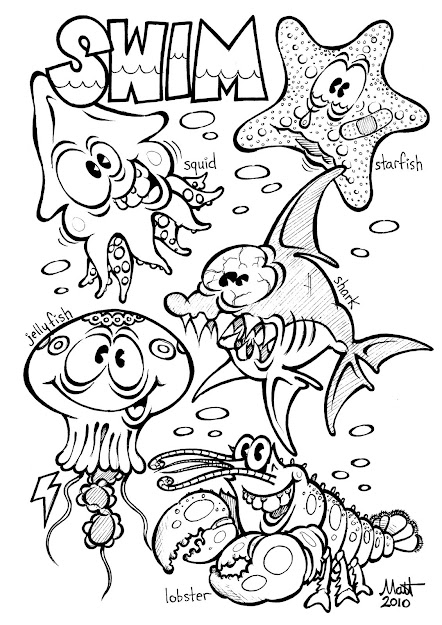 Color In Sheets Of Animal  Ocean Animal Coloring Pages