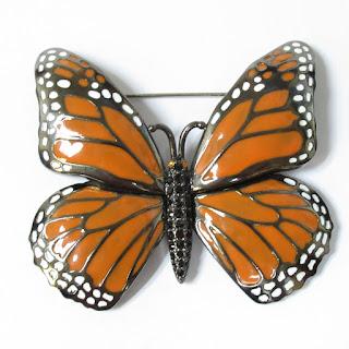 Joan Rivers Enamel Monarch Butterfly Pin