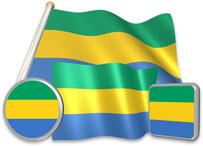 Gabonese flag animated gif collection