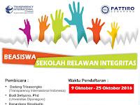 Beasiswa sekolah relawan integritas Pattiro Semarang