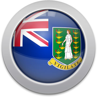 British Virgin Island  flag icon with a silver frame